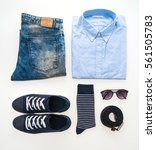 beautiful fashion clothes set... | Shutterstock . vector #561505783