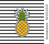 pineapple in a flat style with...   Shutterstock . vector #561511213
