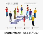 crowd and hand drawn question... | Shutterstock .eps vector #561514057