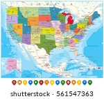 usa political road map and map... | Shutterstock .eps vector #561547363