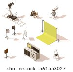 vector isometric low poly movie ... | Shutterstock .eps vector #561553027
