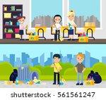 garhering garbage composition... | Shutterstock .eps vector #561561247