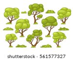 set of different trees and... | Shutterstock .eps vector #561577327