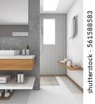 3d rendering minimal wood sink... | Shutterstock . vector #561588583