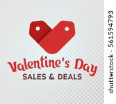 red label sale shaped heart on... | Shutterstock .eps vector #561594793