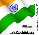 india flag 3d isolated with... | Shutterstock .eps vector #561604117