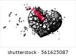monochrome engraving broken... | Shutterstock .eps vector #561625087