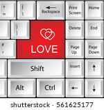 computer keyboard with love  ... | Shutterstock .eps vector #561625177