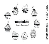 doodle cupcakes collection.... | Shutterstock .eps vector #561642307