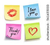 set of colored sheets of note... | Shutterstock .eps vector #561655033