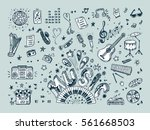 vector music icons set. hand... | Shutterstock .eps vector #561668503