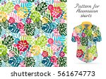 seamless tropical floral... | Shutterstock .eps vector #561674773