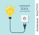 connect idea. bulb light  cord... | Shutterstock .eps vector #561677473