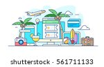 Illustration of service to purchase ticket to the sea with a palm tree, cocktail, surf, watermelon, coconut, a camera, a suitcase with clothes and ball