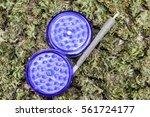 open purple grinder and spliff... | Shutterstock . vector #561724177
