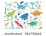 funny dinosaurs with palm... | Shutterstock .eps vector #561730663