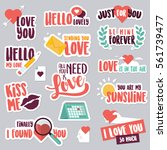 valentine day stickers and... | Shutterstock .eps vector #561739477
