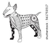 bull terrier dog zentangle...   Shutterstock .eps vector #561753517