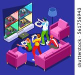 multiplayer video game screen... | Shutterstock .eps vector #561756943
