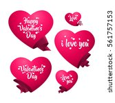 a set of pink hearts templates... | Shutterstock .eps vector #561757153