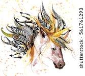 unicorn. animal head print for... | Shutterstock . vector #561761293