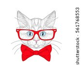 Vector Cute Cat Portrait With...