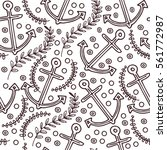 maritime hand drawn pattern.... | Shutterstock .eps vector #561772987