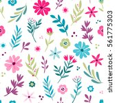 colorful cute hand drawn floral ... | Shutterstock .eps vector #561775303
