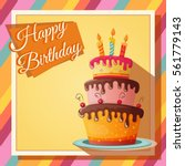 birthday card with cupcake.... | Shutterstock .eps vector #561779143