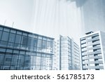 modern building with blue... | Shutterstock . vector #561785173