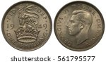 Small photo of United Kingdom British coin 1 one shilling 1949, lion standing on crown divides dates, George V head left, English type