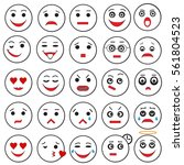 set of outline emoji icons... | Shutterstock .eps vector #561804523