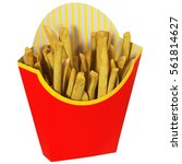 portion french fries in red... | Shutterstock . vector #561814627