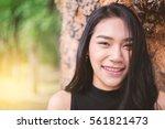 outdoor portrait of a beautiful ... | Shutterstock . vector #561821473