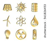 gold industrial energy icon set....   Shutterstock . vector #561826453