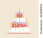 big cake with candles flat.... | Shutterstock .eps vector #561838423