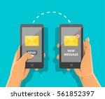 sending message concept. man's... | Shutterstock .eps vector #561852397
