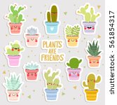 big set of cute cartoon cactus... | Shutterstock .eps vector #561854317