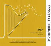 abstract music harp cover....   Shutterstock .eps vector #561873223