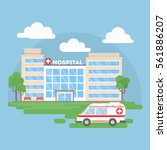 hospital building with... | Shutterstock .eps vector #561886207
