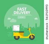 delivery ride scooter... | Shutterstock .eps vector #561910993