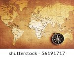 an old brass compass on a... | Shutterstock . vector #56191717