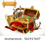 pirate treasure. adventure 3d... | Shutterstock .eps vector #561917647