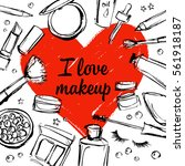 cosmetics around a red heart....   Shutterstock .eps vector #561918187