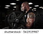 brutal strong athletic men...   Shutterstock . vector #561919987