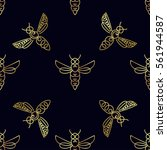seamless pattern with insect....   Shutterstock .eps vector #561944587