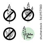 vector set of four gluten free... | Shutterstock .eps vector #561957583