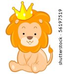 cute lion with crown   vector