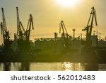 sunset at the seaport closeup... | Shutterstock . vector #562012483