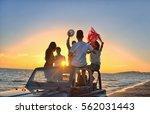 five young people having fun in ... | Shutterstock . vector #562031443